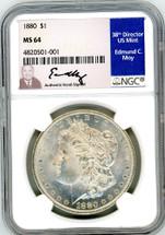 1880 Morgan Dollar MS64 NGC Moy