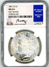 1881 CC Morgan Dollar MS63+ GSA Hoard Moy
