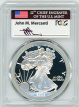 2002-W Silver Eagle PR 70 DCAM PCGS Mercanti Signed - Price Guide $800