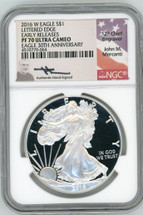 2016 W Proof Silver Eagle PF 70 Ultra Cameo Lettered Edge Early Releases 30th Annivrsary Mercanti Signed