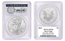 2019 Silver Eagle MS70 PCGS First Day of Issue Thomas Cleveland wreath *Pop 250*