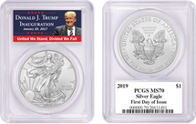 2019 Silver Eagle MS70 PCGS First Day of Issue Trump