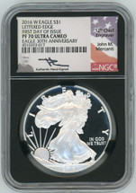 2016 W Proof Silver Eagle PF70 First Day of Issue 30th Ann Lettered Edge Mercanti (BLACK CORE)