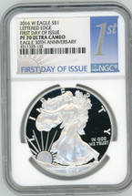 2016 W Proof ASE PF70 NGC Ultra Cameo FDOI 30th Anniv Lettered Edge blue 1st label