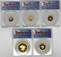 2012 Canada Gold ML 5-Coin Set ($0.50, 1, 5, 10, 50) PR70 ANACS Million Dollar Coin 5th Anniv