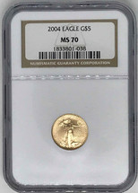 2004 $5 Gold Eagle MS70 NGC brown label