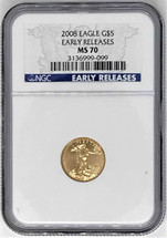 2008 $5 Gold Eagle MS70 NGC Early Releases label