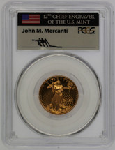 1999-W $10 Gold Eagle MS68 PCGS Unfinished PR Dies flag Mercanti