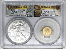 2016 2-Coin Set ASE/$5 Gold MS70 PCGS 30th Anniv Bimetalic Set FDOI label