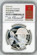 2018 P Silver Dollar PF70 NGC Ultra Cameo WWI Centennial K. Bressett