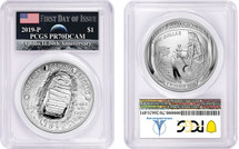 2019-P $1 Silver 1oz Apollo Proof First Day Of Issue PR70 Moon Label