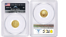2019-W $5 Gold UNC Apollo 11 PCGS MS70 First Day of Issue AMF Label *Low Pop*