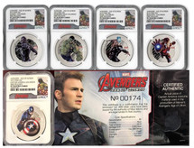2015 $2 5-Coin Set Avengers - Age of Ultron PF70 NGC First Releases Pop 140 W/Piece Of Cap America's Suit!