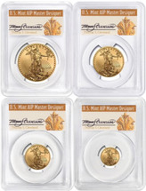 2019 Gold Eagle 4-Coin Set ($5, 10, 25, 50) MS70 PCGS FDOI T. Cleveland Art Deco