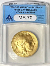 2006 $50 Gold Buffalo MS70 ANACS First Day Release