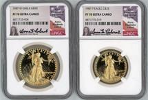 1987 P/W Gold Eagle 2-Coin Set $25/$50 PF70 NGC Ultra Cameo Anna Cabral