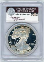 2002-W Proof Silver Eagle PR70 PCGS Mercanti ASE label