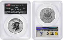 2019-S Rev. Proof 50C Kennedy PR70 PCGS FDOI Apollo 11 50th Anniv Set flag Moon label