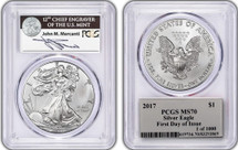 2017 Silver Eagle MS70 Mercanti Signed First Day of Issue 1 of 1000 FDOI