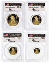 2019-W Proof Gold Eagle 4-Coin Set ($5, 10, 25, 50) PR70 PCGS FDOI flag Mercanti