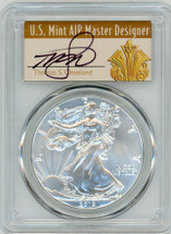 2019 Silver Eagle MS69 PCGS Mint Error Struck Thru Reverse First Strike T. Cleveland Art Deco