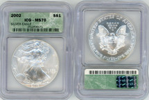 2002 Silver Eagle MS70 ICG green label