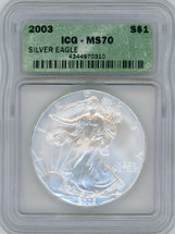 2003 Silver Eagle MS0 ICG green label