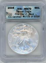 2005 Silver Eagle MS70 ICGS FDOI # of 3339 flag label