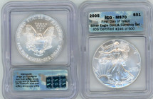 2005 Silver Eagle MS70 ICGS FDOI Silver Eagle Coin & Currency Set # of 500 flag label
