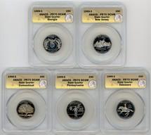 1999-S Proof Quarter 5-coin Set PR70 ANACS GA, NJ, CT, PA, DE
