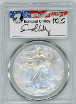 2007-W Burnished Silver Eagle SP 70 PCGS Moy Signed - PRICE GUIDE $205
