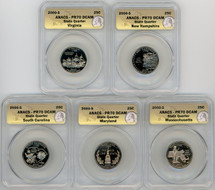 2000-S Proof State Quarter 5-Coin Set PR70 ANACS VA, NH, SC, MD, MA