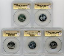 2001-S Proof State Quarter 5-coin Set PR70 ANACS KY, VT, RI, NC, NY