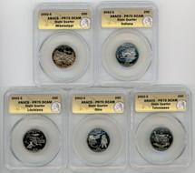 2002-S Proof State Quarter 5-coin Set PR70 ANACS TN, OH, LA, IN, MS