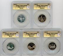 2003-S Proof State Quarter 5-coin Set PR70 ANACS IL, AL, ME, MO, AR