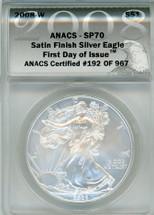 2008 Burnished Silver Eagle SP70 ANACS FDOI Certified # of 967 eagle label