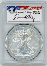 2014-W  Burnished Silver Eagle SP 70 PCGS Moy Signed - PRICE GUIDE $250