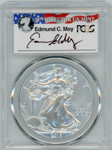 2015-W  Burnished Silver Eagle SP 70 PCGS Moy Signed - PRICE GUIDE $225