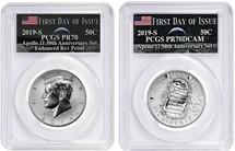2019-S $.50 PR70 & Reverse PR70 Half Dollar 2-Coin 50th Anniversary Set PCGS Apollo 11  FDOI Label