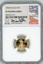 1998 W $5 Proof Gold Eagle PF70 Ultra Cameo NGC Mike Castle