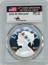 2017-P Silver Amer Lib Medal PR70 PCGS 225th Anniv US Mint FDOI Denver flag Mercanti