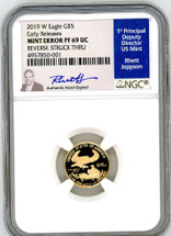 2019 W $5 Gold Eagle PF69 NGC UC Early Releases Mint Error Rev. Struck Thru Jeppson