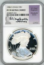 1986 S $1 Proof Silver Eagle Pf70 Ultra Cameo Elizabeth Jones