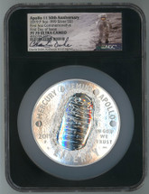 2019 P Proof 5oz Apollo 11 50th Anniv PF70 NGC Ultra Cameo FDOI C. Duke astronaut label