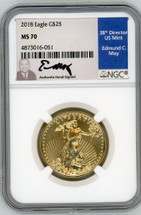 2018 $25 Gold Eagle MS70 NGC Moy