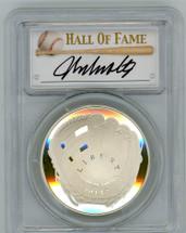 2014-P $1 Silver Baseball Hall of Fame PR70 PCGS John Smoltz signature