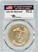 2016-W $50 Burnished Gold Eagle SP70 PCGS 30th Anniv FDOI flag Mercanti