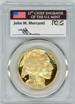 2016-W $50 Proof Gold Buffalo PR70 PCGS FDOI 10th Anniv flag Mercanti