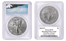 2019-W Burnished ASE SP70 PCGS FDOI T. Cleveland BLUE EAGLE *NEW LABEL*