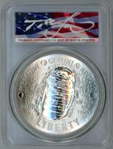 2019-P $1 5oz Silver Apollo 11 50th Anniv PR70 PCGS T. Cleveland flag